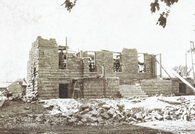 This undated photo is of the cornerstone being erected for Wilmington Friends Meeting, according to info with the photo. Can you tell us more? Share it at info@wnewsj.com. The photo is courtesy of the Clinton County Historical Society. Like this image? Reproduction copies of this photo are available by calling the History Center. For more info, visit www.clintoncountyhistory.org; follow them on Facebook @ClintonCountyHistory; or call 937-382-4684.