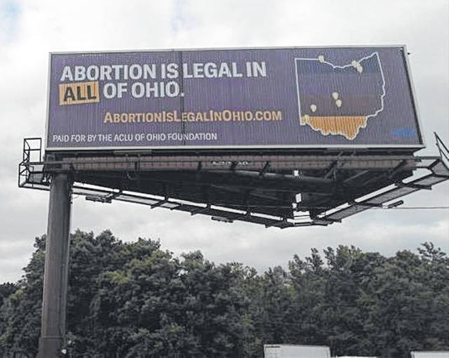 The ACLU reported the organization has placed this billboard in Lebanon, Ohio.