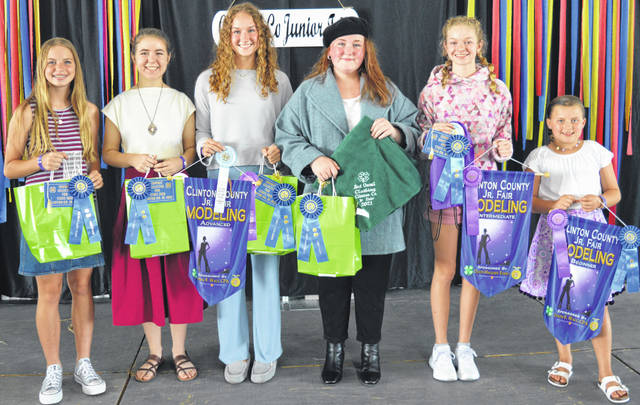 Each of the following earned at least one first-place award in Style Revue modeling or clothing awards during a Clinton County Junior Fair event at the Peterson Building. From left are Addison Swope, Maddie Brausch, Courtney Parker, Jenna Allemang (Best Overall for Clothing), Kenzie Parker, and Kiley Murphy. The modeling winners for their age level are Courtney Parker in advanced, Kenzie Parker in intermediate, and Kiley Murphy in beginner.