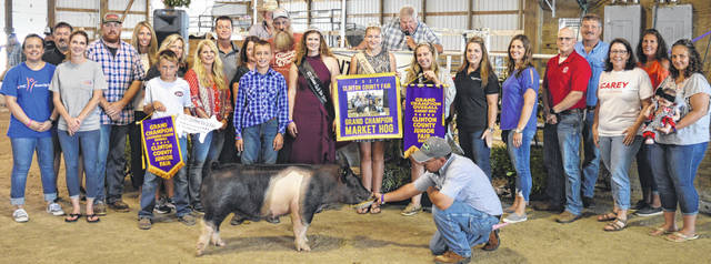 Timothy Fallis' grand champion market hog drew a $2,080 premium at the time of the livestock auction. The contributing sponsors include Ag-Pro, American Equipment Service, Bronson Door Co., Carey for Congress, Caribou Sanitation, CDB Trucking and in the memory of Utrechts, Cherrybend Pheasant Farm / Ellis Farms, Clinton County Auditor Terence Habermehl, Collett Propane, Country View Hospital, Greater Tomorrow Health, Hawkins Family Greene County, Dr. Connie Horn, J and E Hatfield Farms, Liberty Savings Bank, Lowes, McConnell Veterinary Services, Steve and Roseanne McKay, Merchants National Bank, Everett Miller, PNC Bank, R+L Carriers, Sams Meats, Skyline Chili in Wilmington, Smith Funeral Homes & Cremation Services, State Farm Insurance, Sue-Terres Food Affair, Thompson Farms Show Feed, Victory Vale Farms LLC, Wilmington Auto Center - Chrysler, Dodge, Jeep, and the Wilmington Lions Club.