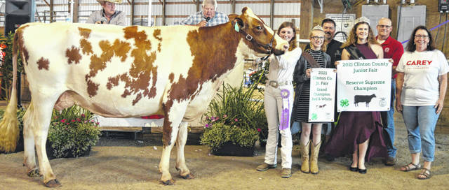 Paige Bowman's reserve champion dairy entry brought a $1,050 premium at the time of the livestock auction. The contributing sponsors include Ag-Pro, Alexander Show Feeds, Allen Motors LLC, Bowman Farms, Carey for Congress, D&E Equipment Co., Foxworthy Enterprises, Gary Quallen Memorial, Groves Tire & Service, Happy Cows Creamery, Knockout Nails by Kerri, LT Land Development, Martinsville Lions Club, R+L Carriers, Smith Farms Trucking, Sunrise Cooperative, Ron Trusty Insurance, Wilmington Auto Center - Chrysler, Dodge, Jeep, and the Wilmington Lions Club.