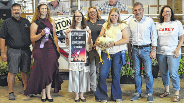 Kaydence Beam's reserve champion meat roaster chicken drew a $1,825 premium at the time of the livestock auction. The contributing sponsors include Justin and Amy Smith and family, ATSG (Air Transport Services Group), Bickle Insurance Services, Bushwacker Builders, Carey for Congress, Chris Collett Trucking LLC, Phyllis Cocklin, Collett Farms / Pioneer Seeds, Culberson Family, Thurston and Mandy Curry, D&E Equipment Co., Farm Credit Services, Fox Towing & Truck Service, Greater Tomorrow Health, Groves Tire & Service, Hawkins Family Greene County, High Top Show Stock - Roehm Family, Hitachi Astemo Ohio Manufacturing Inc., Johnson Farms, Liberty Savings Bank, Master Feed Mill Inc. in Wilmington, Mootz Trucking, Sams Meats, Simpkins-Foley Ins. / Foley & Achtermann, Smith Farms Trucking, Sunrise Cooperative, Ron Trusty Insurance, and the Wilmington Auto Center - Chrysler, Dodge, Jeep.