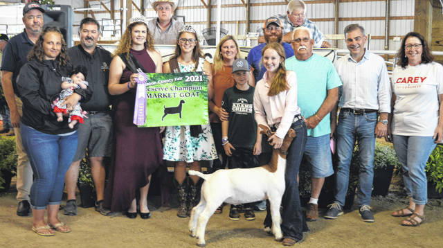 Landree Stump's reserve champion market goat drew a $900 premium at the livestock auction. The contributing sponsors include Bush Auto Place, Carey for Congress, Phyllis Cocklin, Fayetteville Hardware, JM Show Goats, LT Land Development, McConnell Veterinary Services, R+L Carriers, Sams Meats, Chris and Brooke Stingley, Webbland Poured Walls LLC, and the Wilmington Auto Center - Chrysler, Dodge, Jeep.