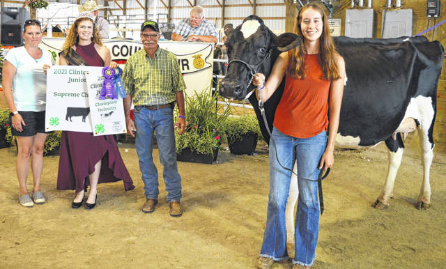 Caili Baumann's supreme champion dairy project drew a $2,375 premium at the time of the livestock auction. The contributing sponsors include AgriGold Hybrids, BDK Feed & Supply, Bottom Line Farm, Clinton County Auditor Terence Habermehl, Falgner Realty, Gary Quallen Memorial, Happy Cows Creamery, Chris and Miranda Hilderbrandt, Hillcrest Farms, Lowes, Miller Farms, Paul Hall & Associates / Justin Holbrook, Peoples Bank, R+L Carriers, Richard White, Wilmington Auto Center - Chrysler, Dodge, Jeep, Wilson Livestock Services, and Winkles Farm Supply.