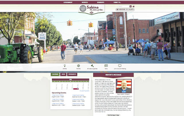 A screenshot of the village's homepage of its new website.