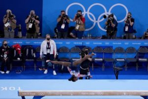 Biles returns to competition with a bronze medal and a smile