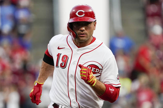 Cincinnati Reds' Joey Votto runs the bases after hitting a three-run home run during the second inning of the team's baseball game against the Pittsburgh Pirates in Cincinnati on Thursday, Aug. 5, 2021. (AP Photo/Jeff Dean)