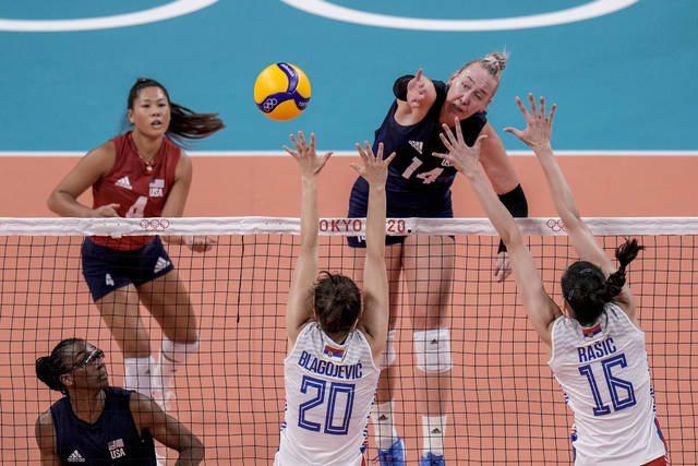 United States' Michelle Bartsch-Hackley spikes the ball during the women's volleyball semifinal match between Serbia and United States at the 2020 Summer Olympics, Friday, Aug. 6, 2021, in Tokyo, Japan. (AP Photo/Manu Fernandez)