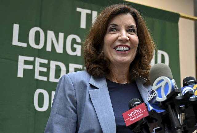 New York Lt. Gov. Kathy Hochul addresses the media after a meeting with Long Island labor leaders in Hauppauge, N.Y., on Friday, Aug. 20, 2021. Hochul is set to take over as governor of the state in a midnight transfer of power on Monday, Aug. 23, following the resignation of Gov. Andrew Cuomo. (Danielle Silverman/Newsday via AP)