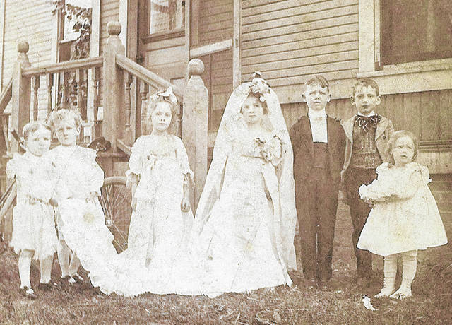 """This is a local photo of a """"Tom Thumb"""" Children's Wedding, but no date is available. Can you tell us more? Share it at info@wnewsj.com. The photo is courtesy of the Clinton County Historical Society. Like this image? Reproduction copies of this photo are available by calling the History Center. For more info, visit www.clintoncountyhistory.org; follow them on Facebook @ClintonCountyHistory; or call 937-382-4684."""