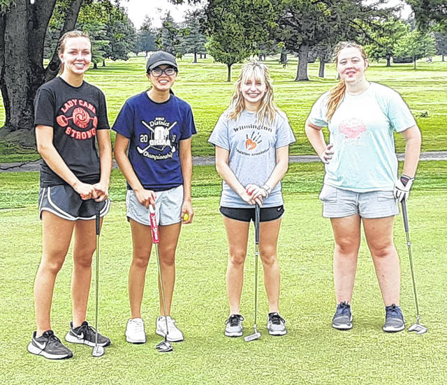 The Wilmington High School girls golf team, from left to right, Katie Murphy, Lilly Middleton, Abbi Battrell, Reagen Reese. Team member Carsyn Custis was not present for the photo.