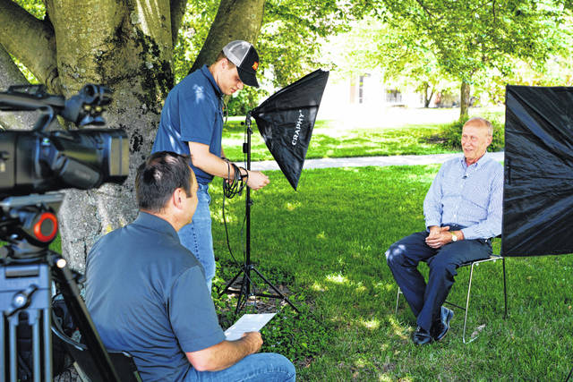 Monte Anderson, right, is pictured being interviewed earlier this summer by Ohio Ag Net Radio's Matt Reese and Kolt Buchenroth. The interview will comprise part of a featured video presentation on Anderson to be viewed at the induction ceremony.