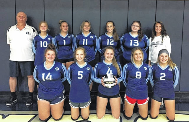 The Blanchester High School volleyball team, from left to right, front row, Taylor Combs, Emma Falgner, Summer Schutte, Madison Creager, Hope Blankenbeckler; back row, varsity head coach Rick Seeling, Makayla Lanham, Brooklyn Bockstiegel, Payton Johnson, Ainsley Whitaker, Josie Ball, assistant coach Jenny Sipple.