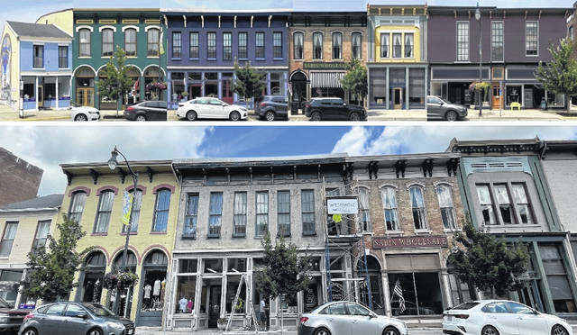 In the composite photo, at top is a look at what the future holds for the Main Street building facades; at bottom is a current view of the buildings and the work underway.