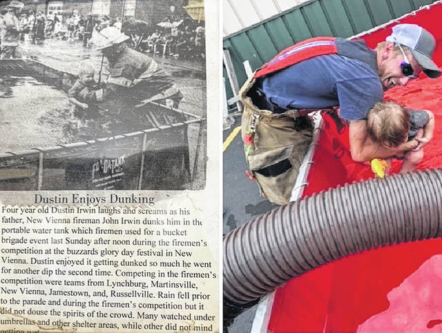 """Twenty-six years ago four-year-old Dustin Irwin enjoyed being """"dunked"""" by his New Vienna firefighter father, John Irwin, during training. And now-current Clinton-Highland firefighter Dustin carried on the tradition with his son, Wyatt, age 2, during training in Lynchburg."""