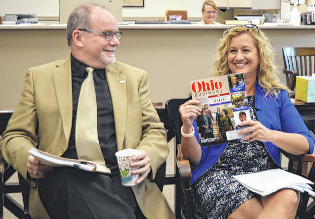 """From left are Clinton County Port Authority Executive Director Dan Evers and Clinton County Economic Development Director Jennifer Klus Ekey. They're happy about the Port Authority being named by Ohio Business Magazine as a """"Best Workplace in Ohio"""" for the second straight year."""
