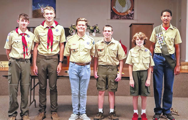 Scouts from BSA Troop 154: Dylan Arnold, Justin Arnold, Forest Leis, Evan Anderson, Carter Bisig and Dayetonio Wilens-Mabry. Travis Horton was unable to attend.