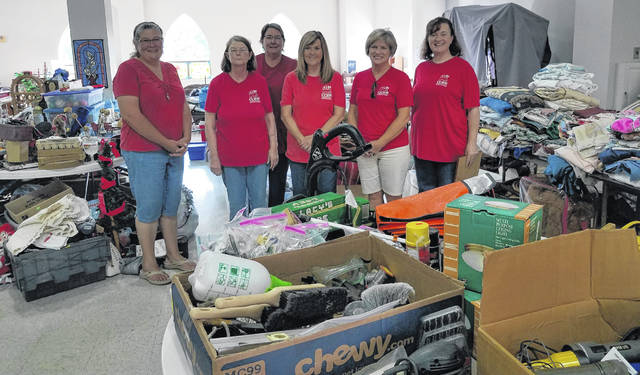 The Clinton County Republican Women's Club donated their time to help the Clinton County Humane Society animals with a yard sale held at the Presbyterian Church Timber Glen Drive Aug. 6-7. From left are Gina Straight, Judy Gano, Diane Rhonemus, Linda King, Nancy Rudduck, and Kathy Harmon. Not pictured is Wanda Armstrong.