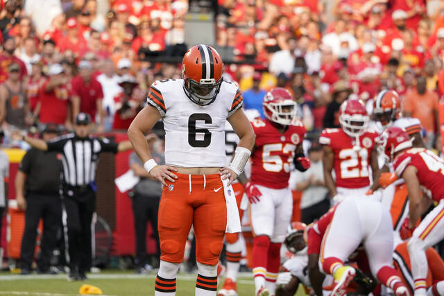 Cleveland Browns quarterback Baker Mayfield reacts after a penalty was called against his team during the second half of an NFL football game against the Kansas City Chiefs Sunday, Sept. 12, 2021, in Kansas City, Mo. (AP Photo/Ed Zurga)
