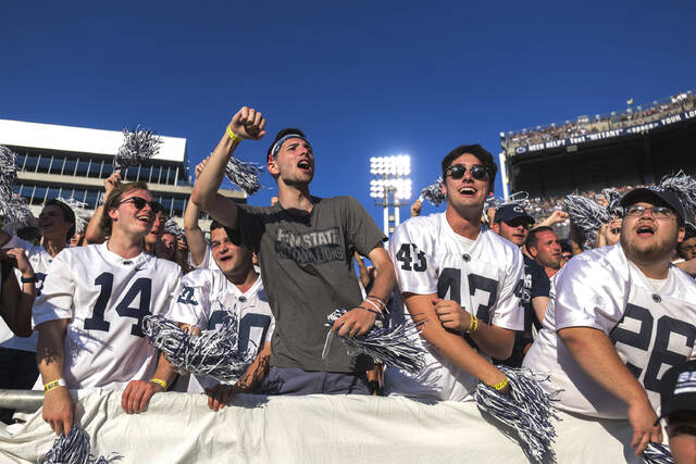 Penn State fans cheer against Ball State during an NCAA college football game in State College, Pa., on Saturday, Sept. 11, 2021. Penn State defeated Ball State 44-13.(AP Photo/Barry Reeger)