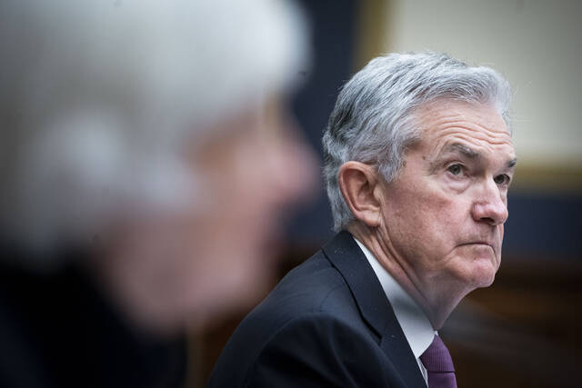 Treasury Secretary Janet Yellen, left, and Federal Reserve Chairman Jerome Powell testify during a House Financial Services Committee hearing, Thursday, Sept. 30, 2021 on Capitol Hill in Washington. (Al Drago/Pool via AP)