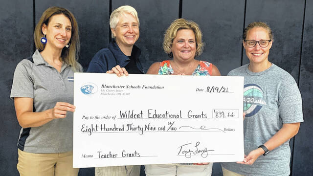 From let are the Blanchester educators who were awarded grants: Jen Molitor, Sherry Simmerman, Sara Carruthers, and Kristy Laubernds.