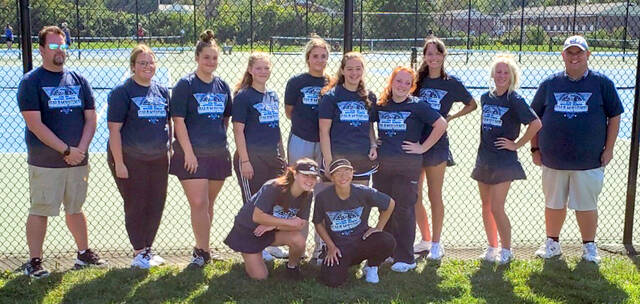 The Blanchester High School tennis team won the SBAAC National Division tennis championship for the 10th time in the last 11 years. The Ladycats took first place on every court for the second straight year. Players and coaches are, from left to right, front row, Grace Irwin, Maddy Coyle; back row, assistant coach Michael Sexton, Ava Wright, Emily Wilson, Leah Boegeman, Carolyn Bockhorst, Abbey Irwin, Maggie Caldwell, Annie Trovillo, Rianna Mueller, head coach Matt Sexton.