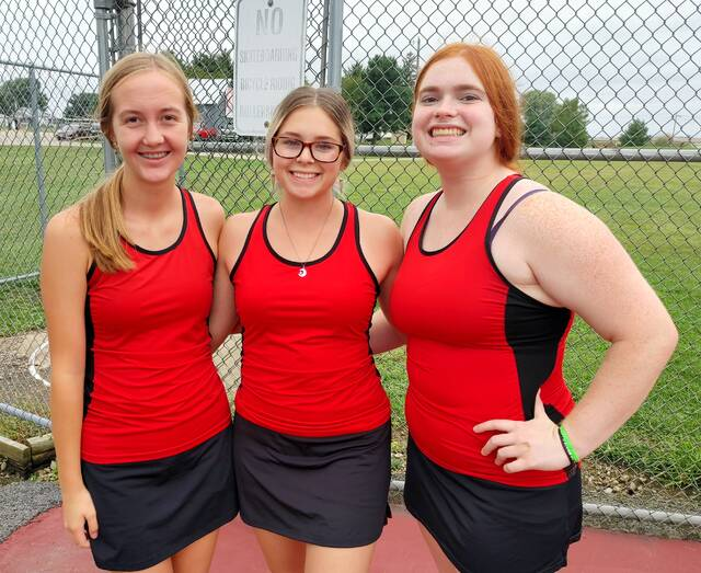 Seniors Katie Carey, Myah Anteck and Jenna Stanley. Kenton Deaton did not participate as she also had a cross country meet, coach Doug Stehlin said.