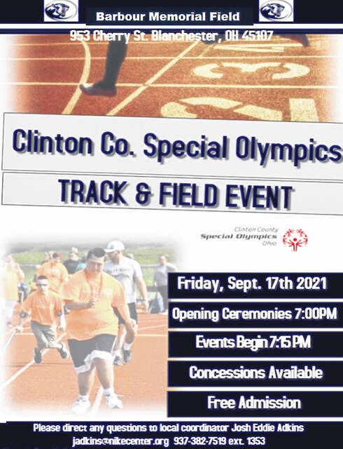 The 2021 Clinton County Special Olympics event is set for Friday evening in Blanchester.