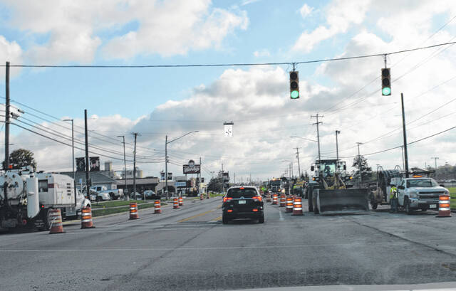 The current Rombach Avenue traffic pattern on Tuesday, looking east from the Eastside Drive split. Workers will shift the lanes to the other side beginning at 7 p.m. Wednesday.
