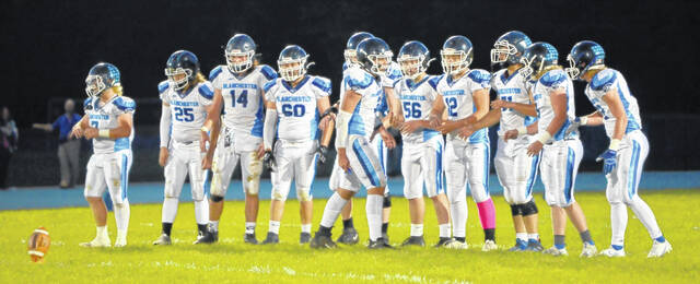 Blanchester lines up for a kickoff last Friday night against Williamsburg.