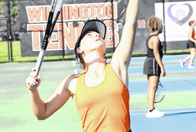 Wilmington High School senior Claire Burns won three matches Tuesday on the first day of competition at the Division I Sectional at Centerville High School.