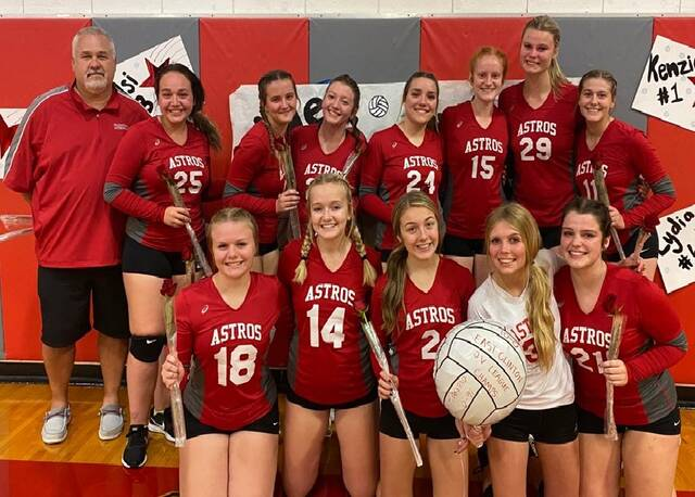 The East Clinton reserve volleyball team, from left to right, front row, Michaela Pollock, Lauren Stonewall, Jordan Collom, Aubrie Simpson, Hayley Mess; back row, head coach Bob Malone, Cadence Howard, Eryn Bowman, Cheyenne Reed, Liz Schiff, Jozie Jones, Bryston Roach, Abbi Reynolds. Team members Sydney Beiting and Hadlie Clark were not present for the photo.