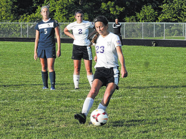 Swanton's Haley Nelson hammers home a penalty kick in a game last season. She made first team All-NWOAL as a junior in 2016.