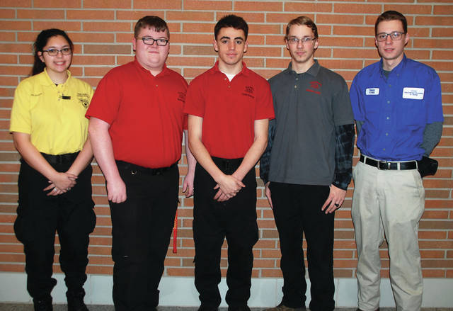 Four County Career Center Skills USA Chapter members are participating in the Ohio State Skills USA Competition in Columbus on April 24 and 25 after taking first, second or third place at regional competition. Skills USA members from all parts of Ohio will be competing for awards and the right to advance to National Skills and Leadership contests. Contest participants from Fulton county are, from left, Mia Beltran (Delta) Crime Scene Investigation; Hunter Allen (Delta) Extemporaneous Speaking; Dylan Duncan (Evergreen) Career Pathways; Andrew Louy (Evergreen) Additive Manufacturing; and Reese Knapp (Archbold) Plumbing. Absent from the photo is Andrew Canada (Pettisville) Internetworking. Four County Career Center Skills USA Advisor is Steve Steingass.