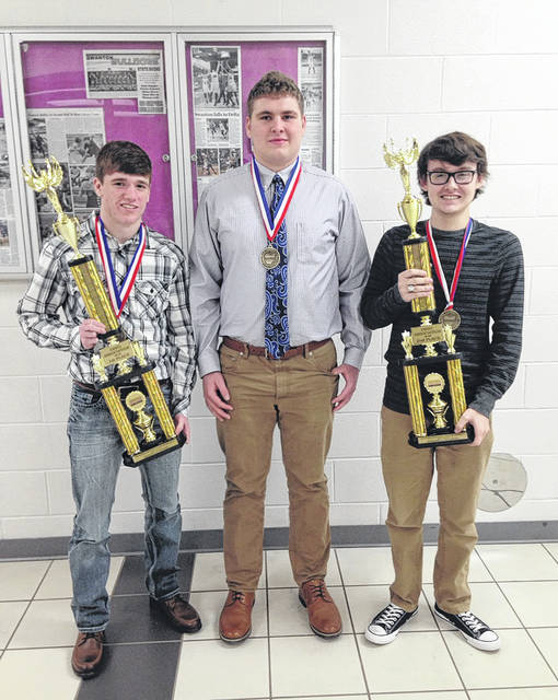 National BPA Qualifiers from Swanton were, from left, Trevor Schaller, Isaac Thomas and Seth Rains.
