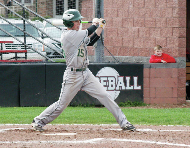 Mason Henricks of Evergreen with a run-scoring single in a game last season. The sophomore returns for the Vikings after being named second team All-NWOAL a season ago.