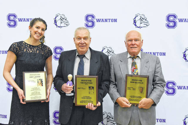 Three individuals were selected as members of Swanton's 2018 Athletic Hall of Fame class Saturday at a ceremony held at the high school. They are, from left: Abby LaVigne (athlete, class of 2007), Thomas Krupitzer (boys soccer coach), and Mark McQuillin (former baseball coach).