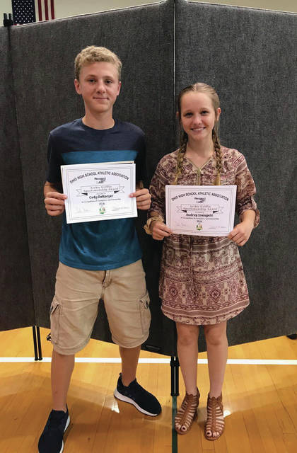 Swanton Middle School's two Archie Griffin Award Winners were Cody DeKoyer and Audrey Szalapski. The award goes to a student that exhibits class, respect, hard work, sportsmanship, and character in and out of the classroom.