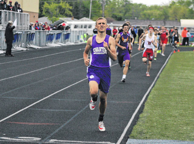 Anthony Howard of Swanton races to the finish in the 800m Friday at Defiance in the Division II district track meet. He would win the race with a time of 1:59.35.
