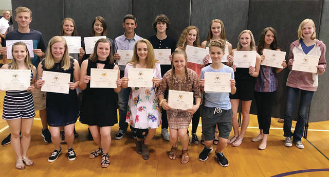Swanton Middle School students were honored for their achievements during the 2017-18 school year at a ceremony in Fisher Gymnasium on Wednesday. Above are eighth grade students who had a 3.5 grade point average their entire SMS career and received the Presidential Award.