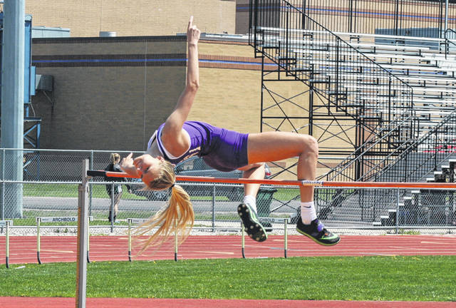 Julia Smith of Swanton won the high jump at the NWOAL Track and Field Championships Tuesday at Archbold. Swanton's girls lead the overall competition with 53 points after day one.