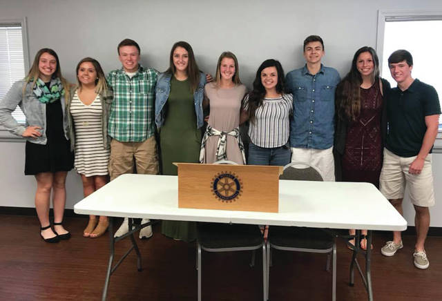 Scholarship recipients at a recent Rotary Club meeting were, from left, Sidney Taylor, Alison Burch, Bryton Boone, Cydney Christensen, Kirsten Truckor, Olivia Williams, Tanner Callicotte, Haley Nelson, and Trevor Schaller.