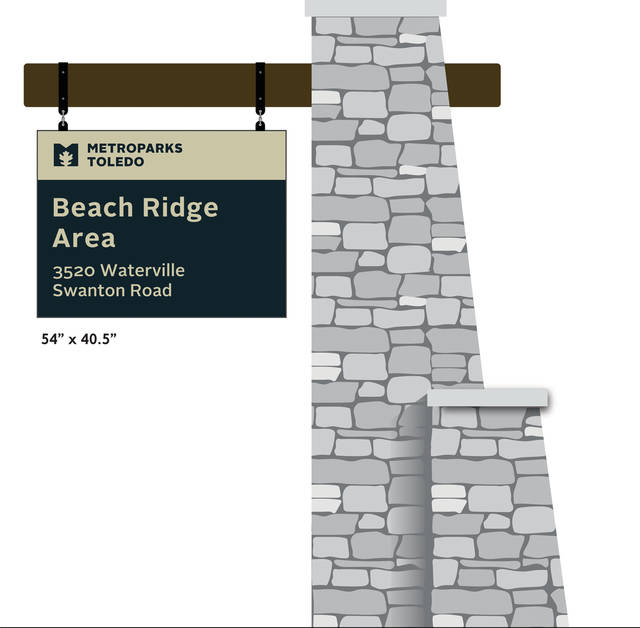 The planned entrance sign for the Beach Ridge Area on Waterville Swanton Road.