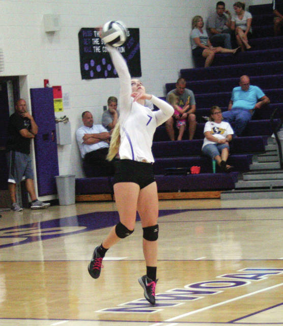 Abby Arnold of Swanton serving at a home match last season. She returns for the Bulldogs after being named second team All-NWOAL and honorable mention in District 7 as a junior.