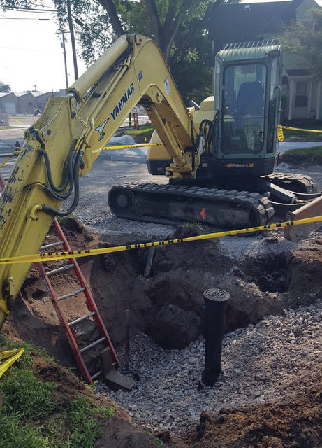 Waterline work at the corner of Church Street and Crestwood Drive.
