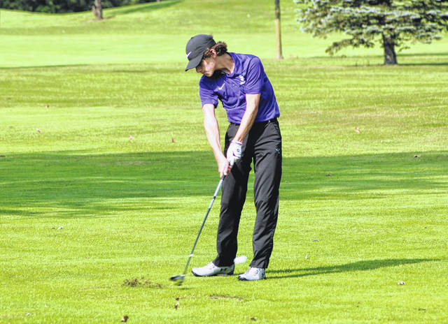 Swanton's Garrett Swank with a shot at the seventh hole Friday during the Northwest Ohio Athletic League Golf Tournament at Auglaize Golf Club. Swank and Austin Luce each shot a 77, tying them for fourth with Connor Shirkey of Bryan.