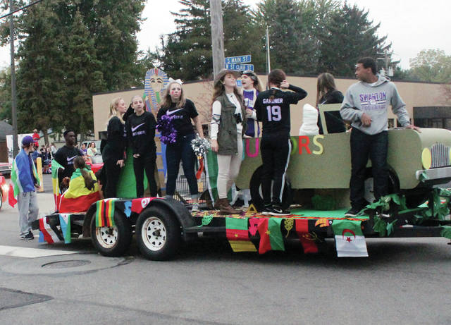 The junior class float in last year's Homecoming parade. This year's parade is Thursday.