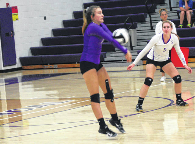 Sammi Taylor of Swanton with a bump during Tuesday's home match with Stryker. The Bulldogs took down the Panthers in three sets.