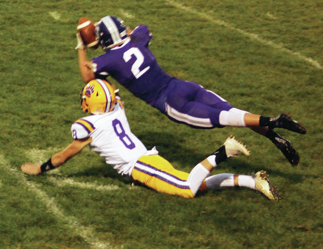 Swanton's Josh Vance can't quite come up with the pass against Bryan on Friday.